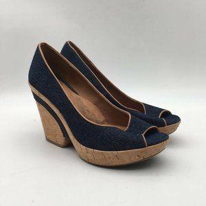 Sofft Womens Olivia Peep Toe Pump Shoes Blue Sz 9